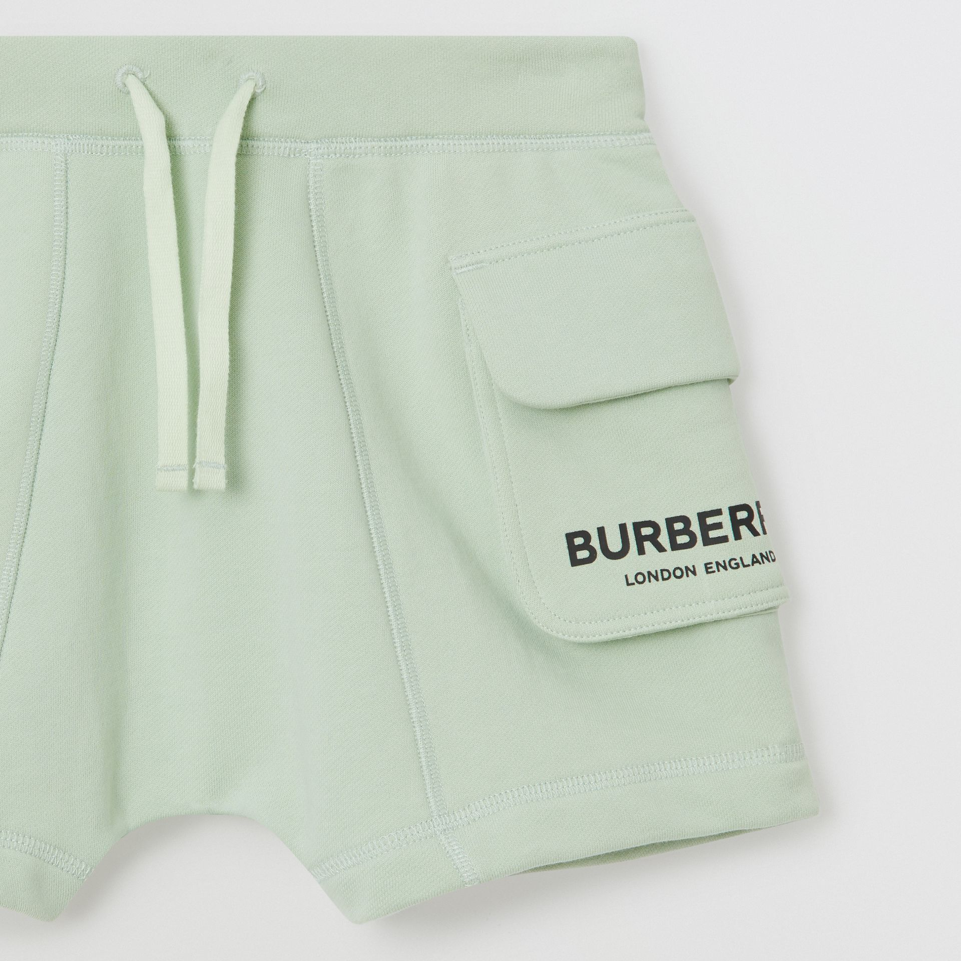 Logo Print Cotton Drawcord Shorts in Pale Mint | Burberry Singapore - gallery image 4