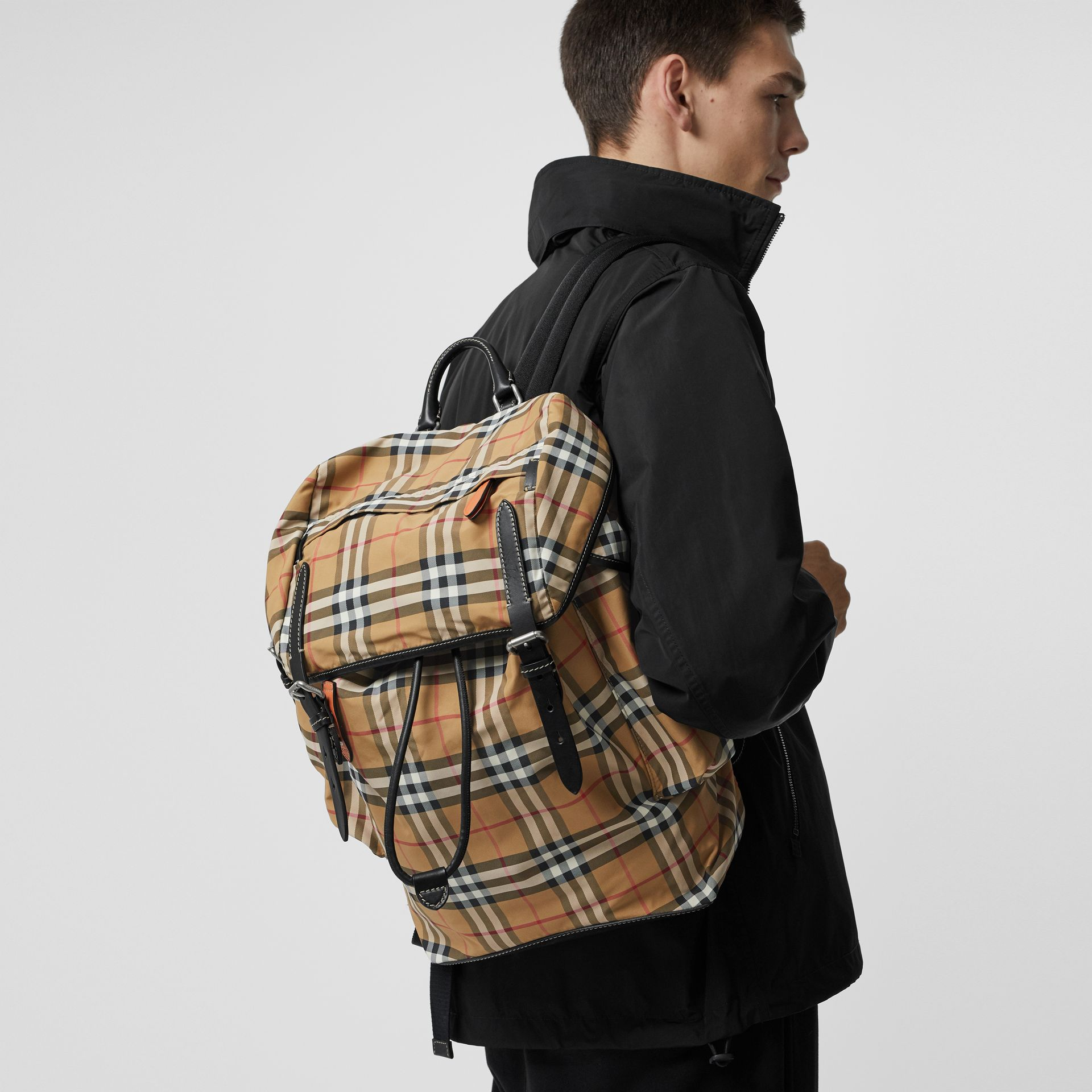 Vintage Check and Leather Backpack in Antique Yellow - Men | Burberry United Kingdom - gallery image 3