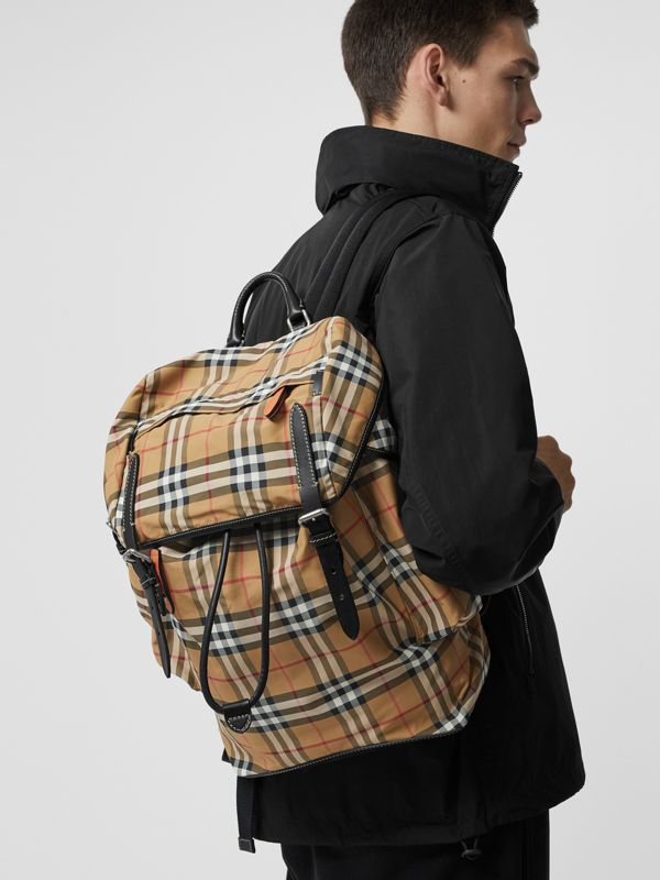 Vintage Check and Leather Backpack in Antique Yellow - Men | Burberry Canada - cell image 3