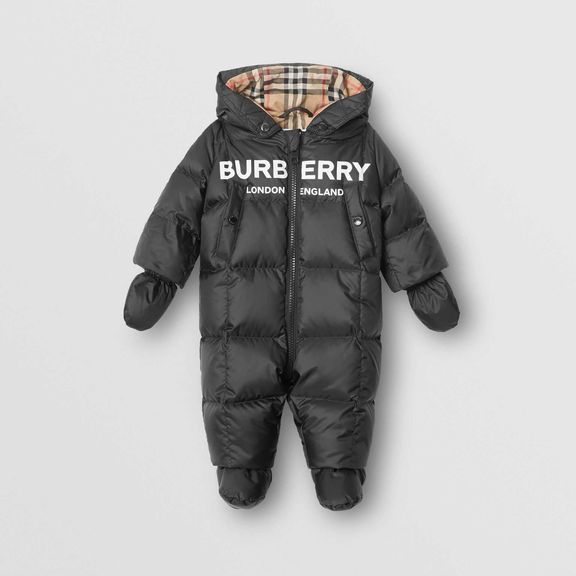 Logo Print Down-filled Puffer Suit in Black - Children | Burberry - gallery image 0