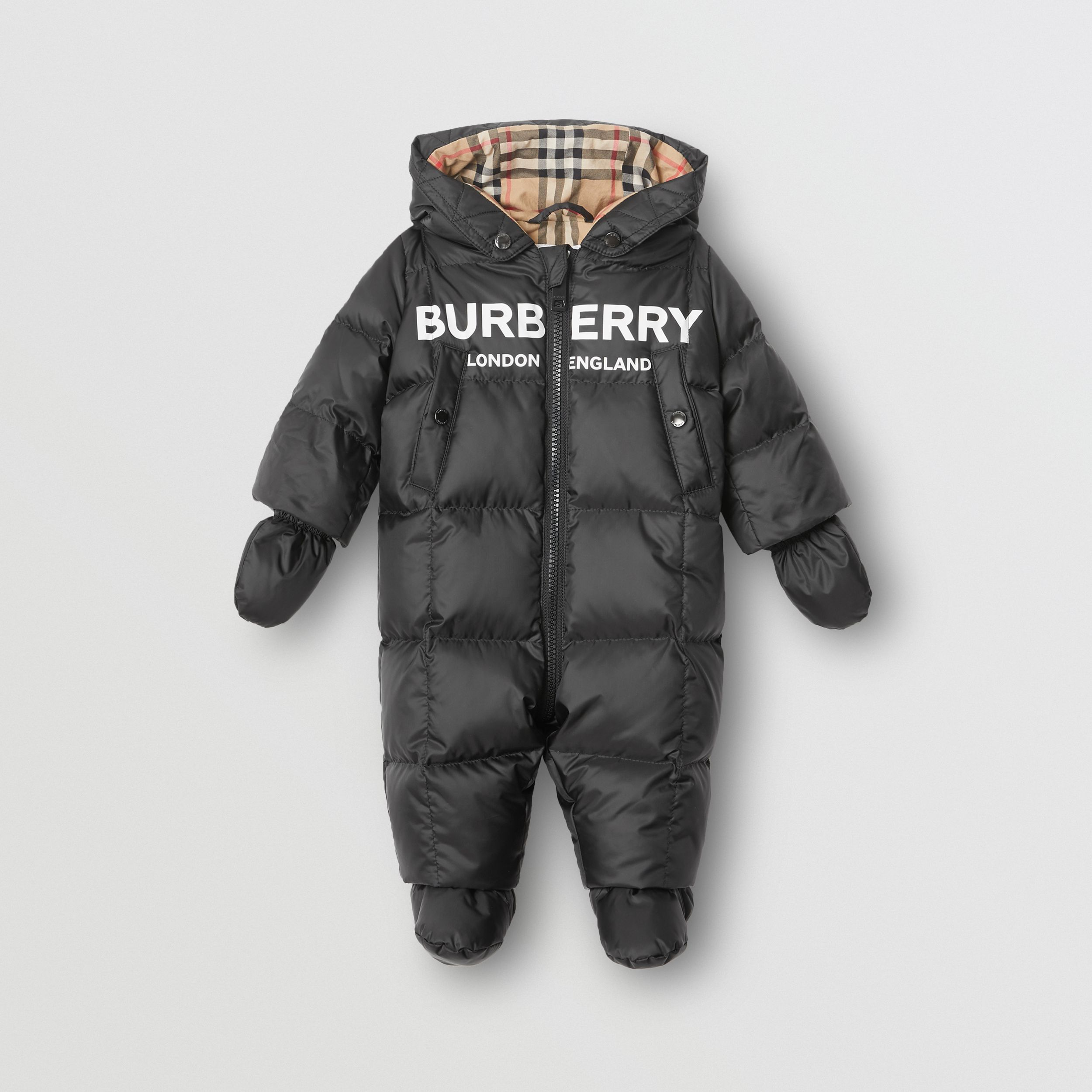 Logo Print Down-filled Puffer Suit in Black - Children | Burberry - 1