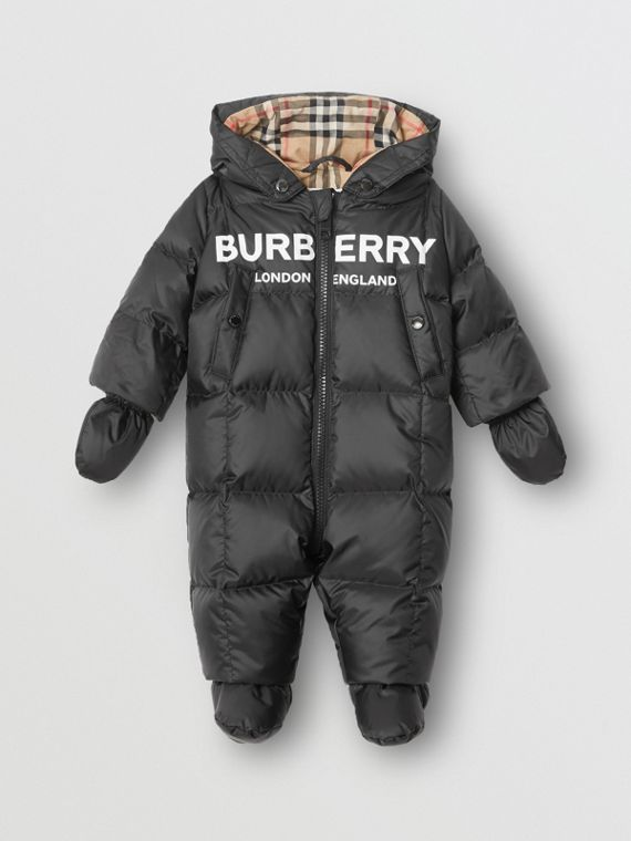Logo Print Down-filled Puffer Suit in Black