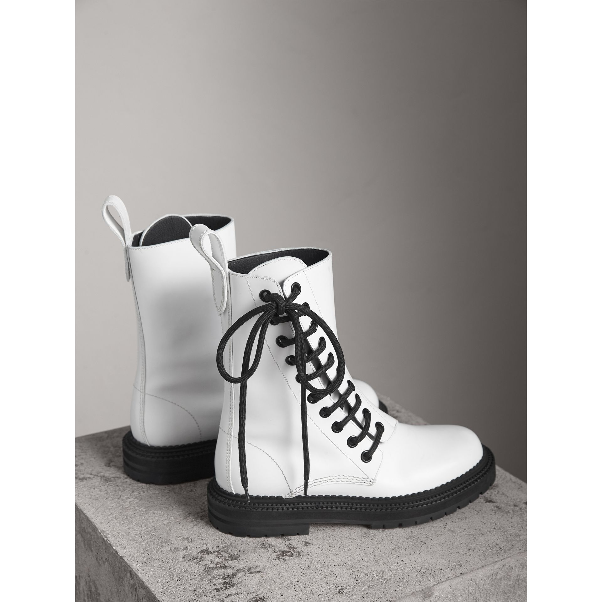 Leather Asymmetric Lace-up Boots in Optic White - Women | Burberry Canada - gallery image 4