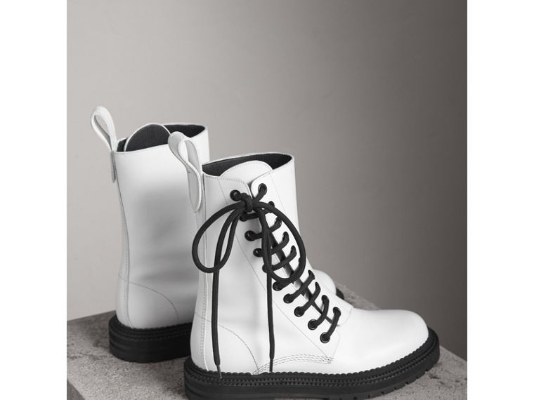 Leather Asymmetric Lace-up Boots in Optic White - Women | Burberry - cell image 4