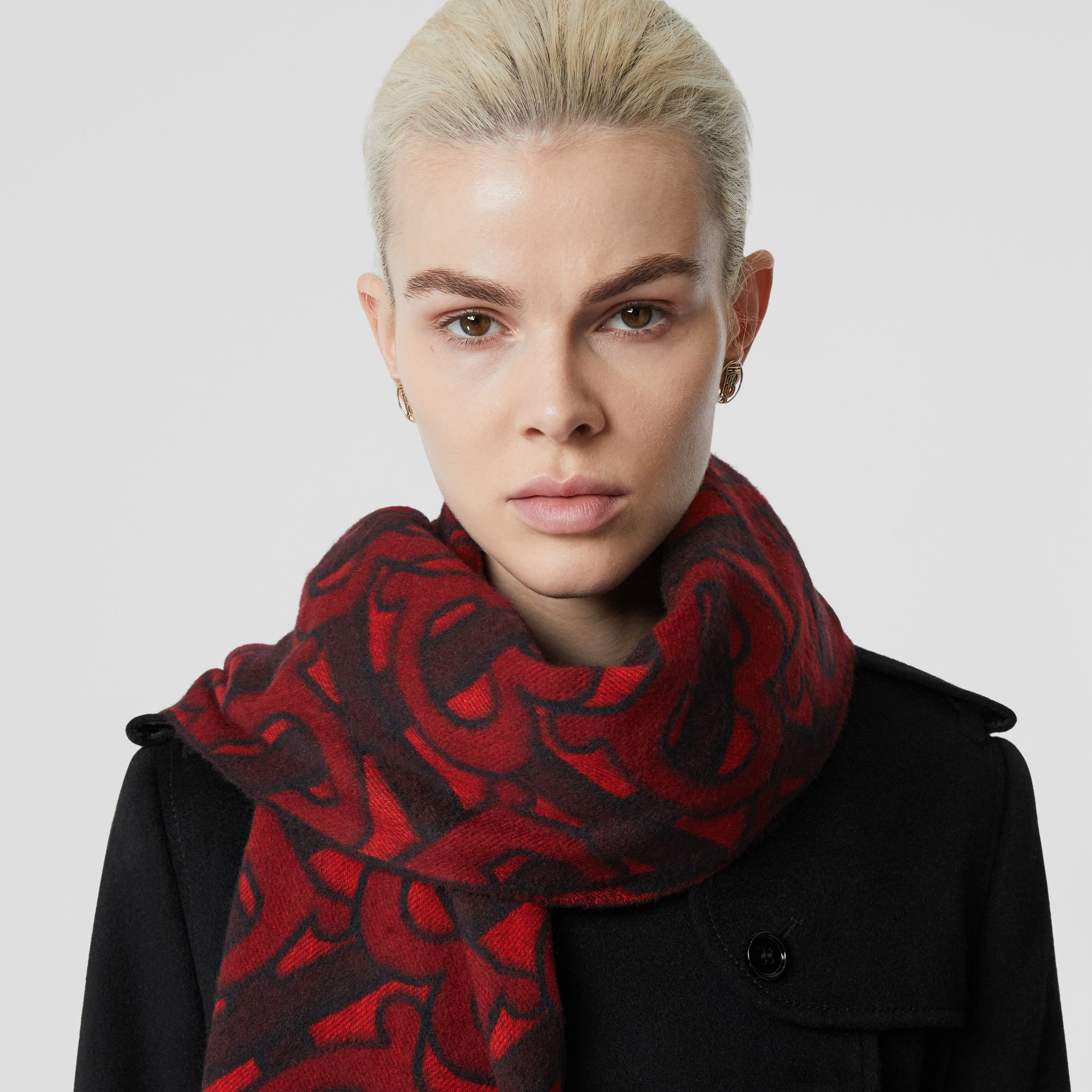 Monogram Cashmere Jacquard Scarf in Crimson | Burberry United Kingdom - gallery image 2
