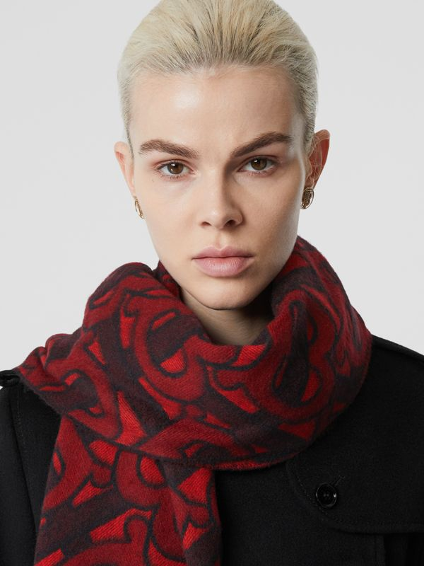 Monogram Cashmere Jacquard Scarf in Crimson | Burberry - cell image 2