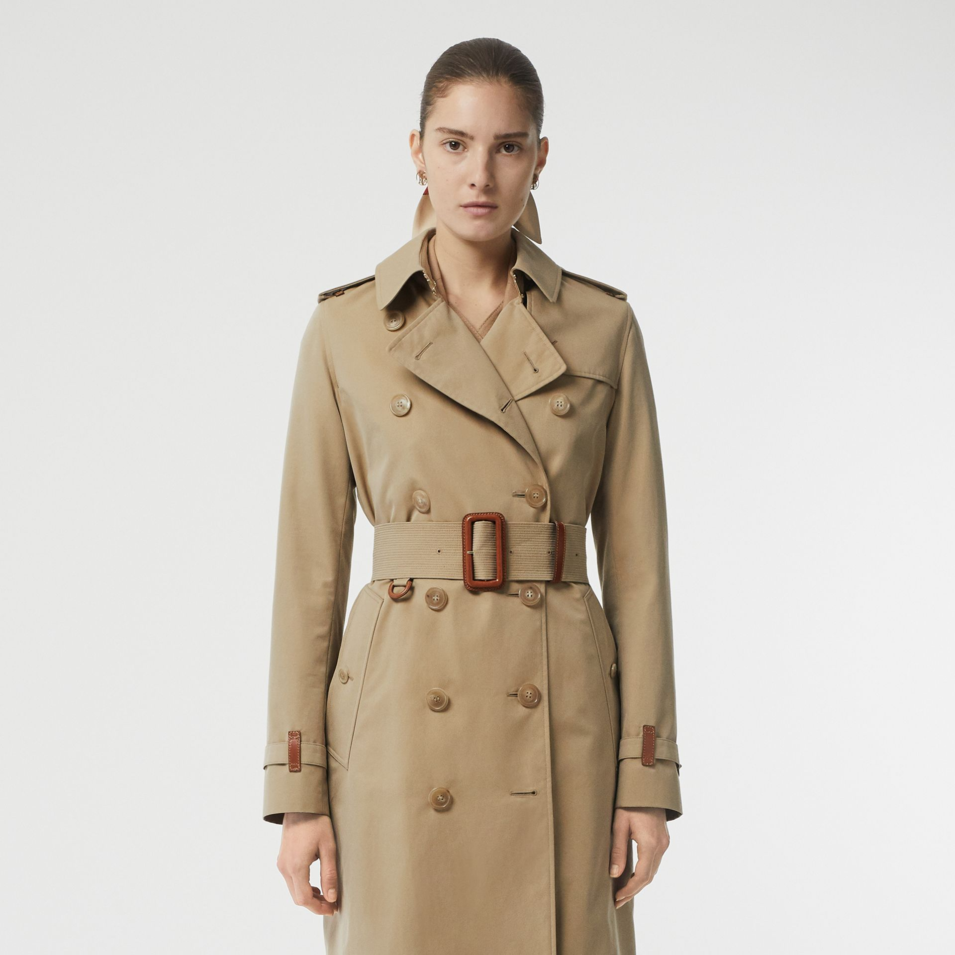 Leather Detail Cotton Gabardine Trench Coat in Honey - Women | Burberry - gallery image 6