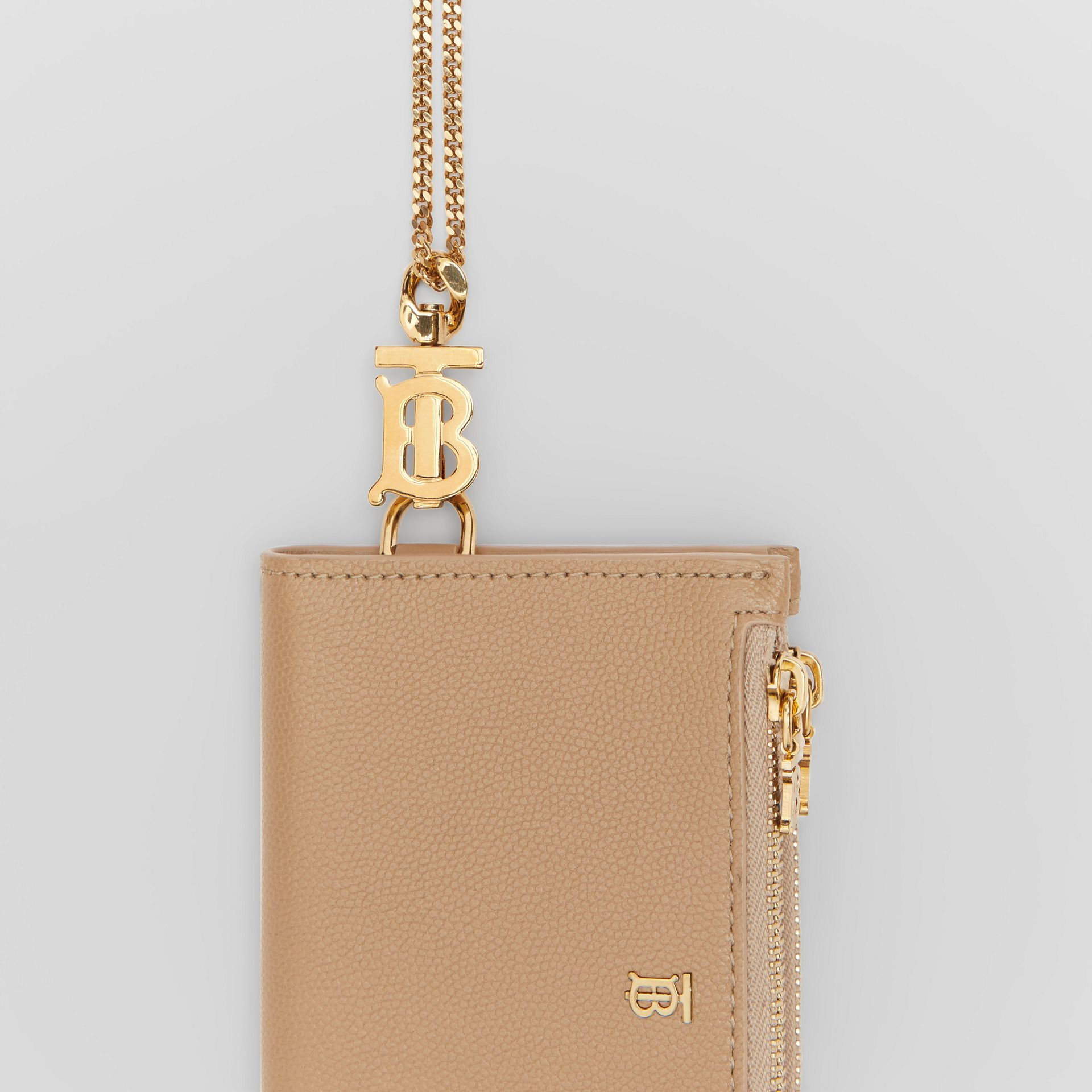 Monogram Motif Grainy Leather Wallet with Detachable Strap in Archive Beige - Women | Burberry Canada - gallery image 1