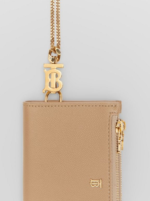 Monogram Motif Grainy Leather Wallet with Detachable Strap in Archive Beige - Women | Burberry - cell image 1