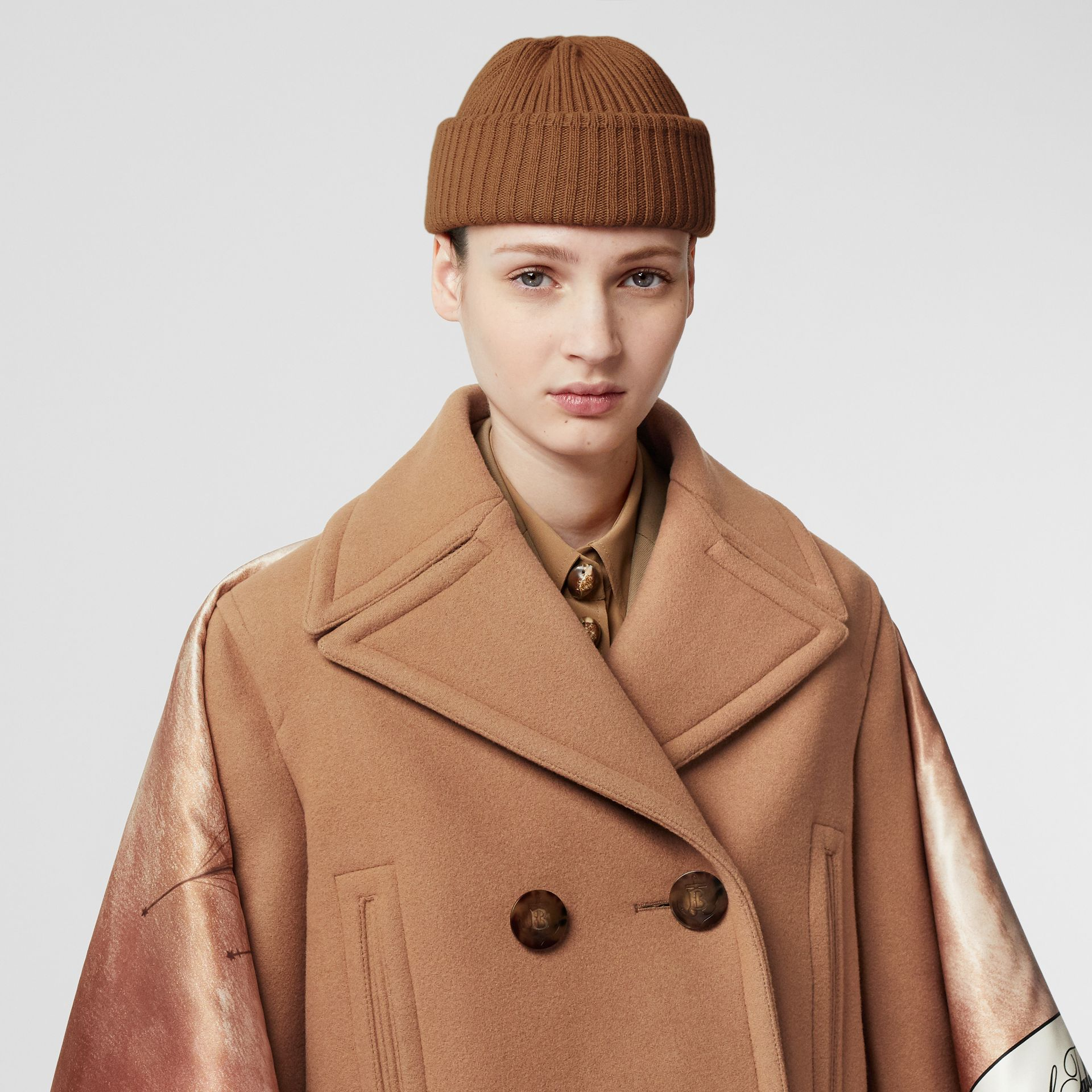 Rib Knit Wool Beanie in Maple | Burberry - gallery image 2