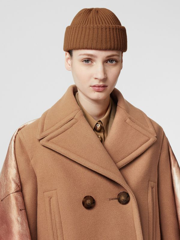 Rib Knit Wool Beanie in Maple | Burberry - cell image 2