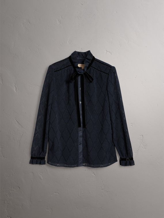 Geometric Lace Tie-neck Shirt in Navy - Women | Burberry United Kingdom - cell image 3