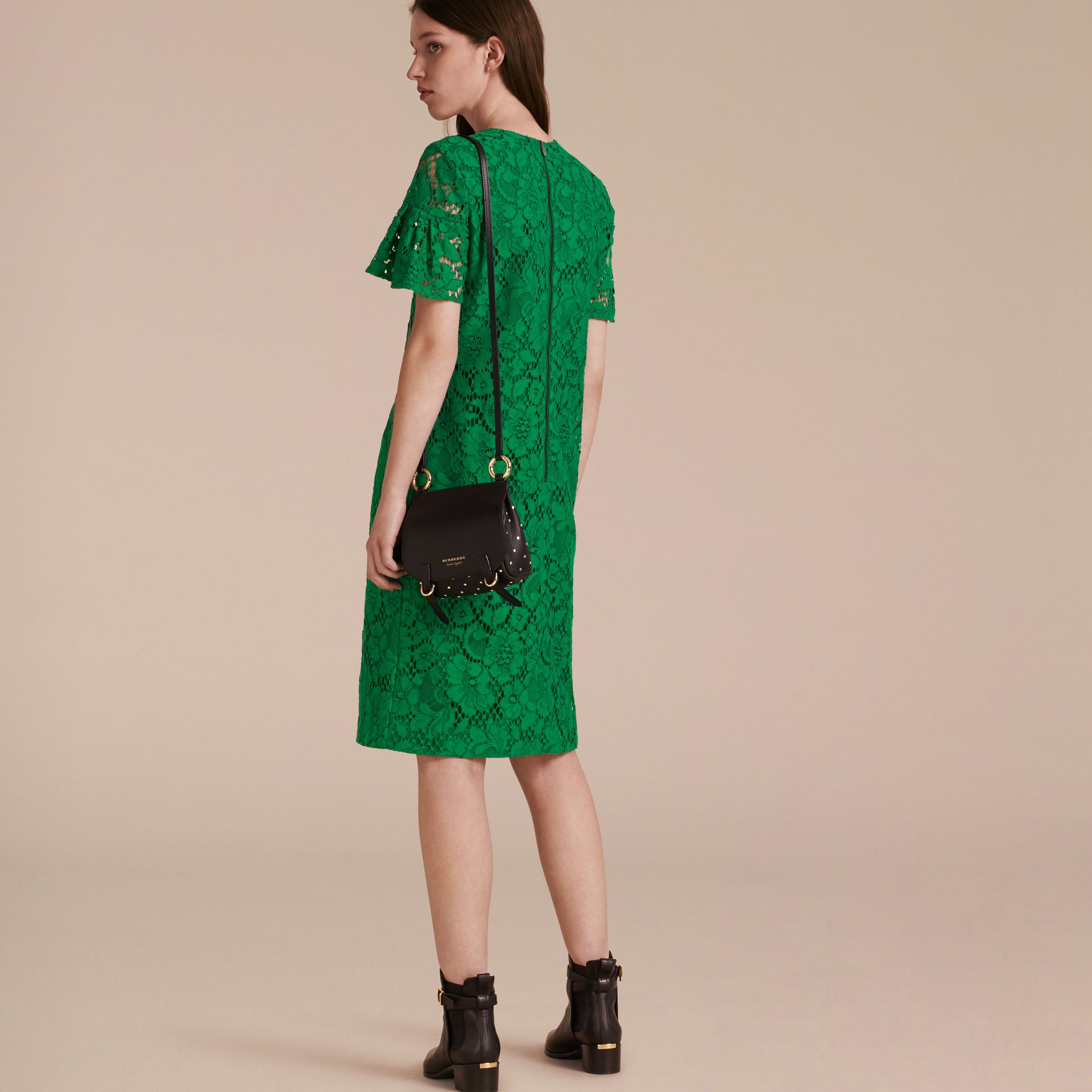 Macramé Lace Shift Dress with Ruffle Sleeves Kelly Green - gallery image 3