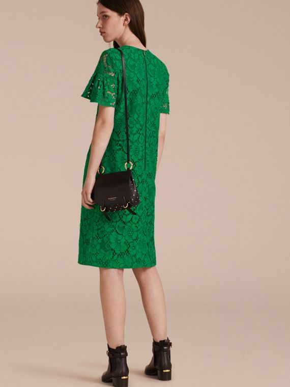 Macramé Lace Shift Dress with Ruffle Sleeves Kelly Green - cell image 2