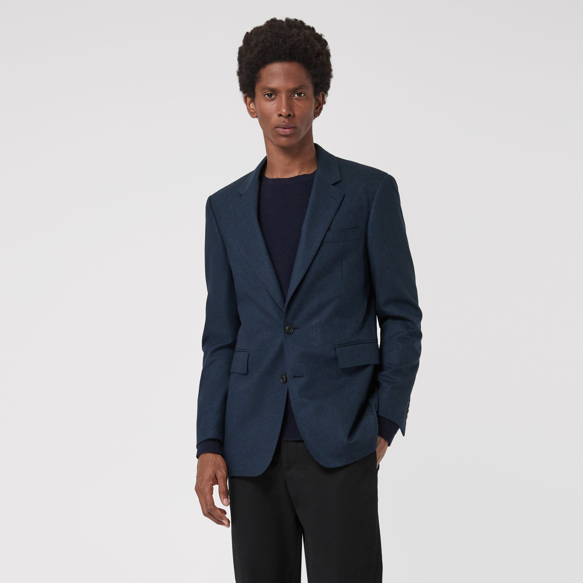 Classic Fit Wool Cashmere Tailored Jacket in Dark Teal - Men | Burberry Australia - gallery image 5