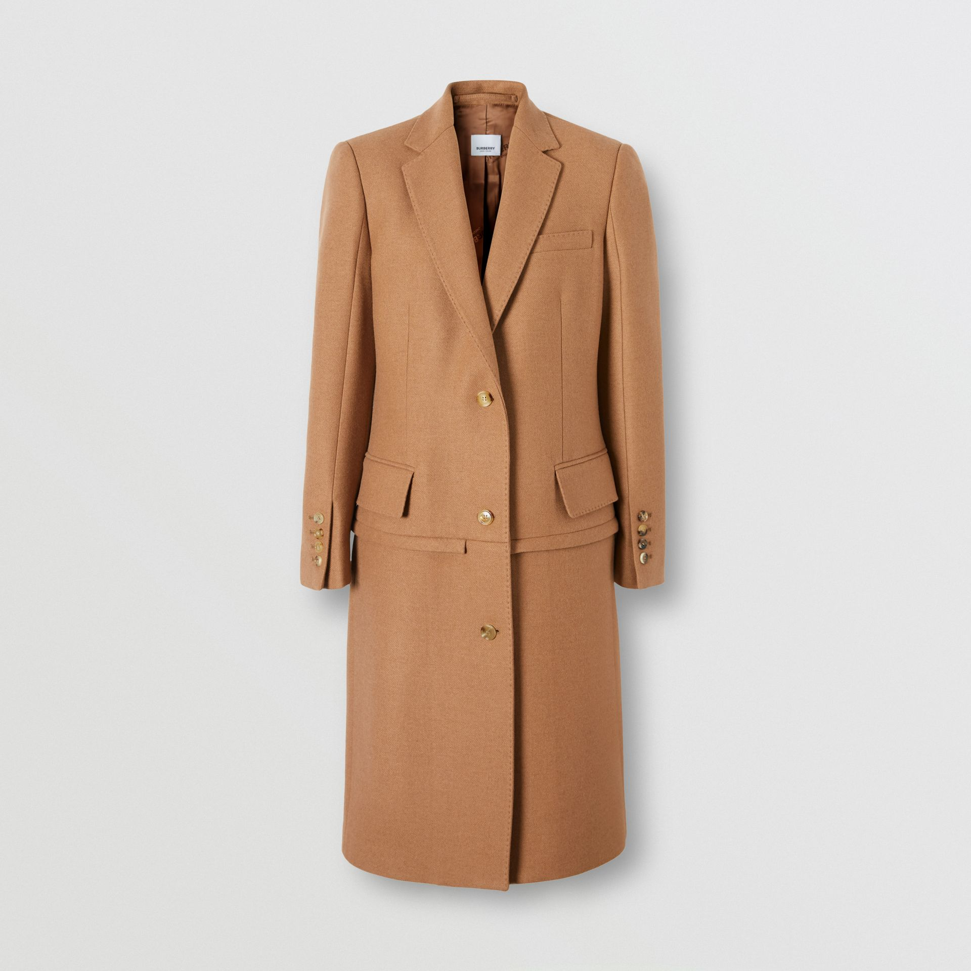 Camel Hair Tailored Coat with Detachable Gilet in Bronze - Women | Burberry - gallery image 9