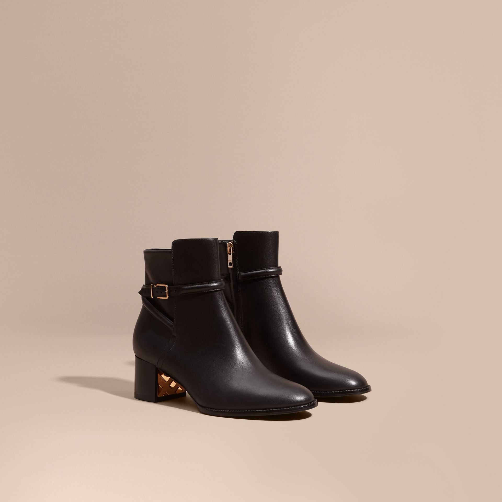 Black Strap Detail Leather Ankle Boots - gallery image 1