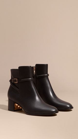 Strap Detail Leather Ankle Boots