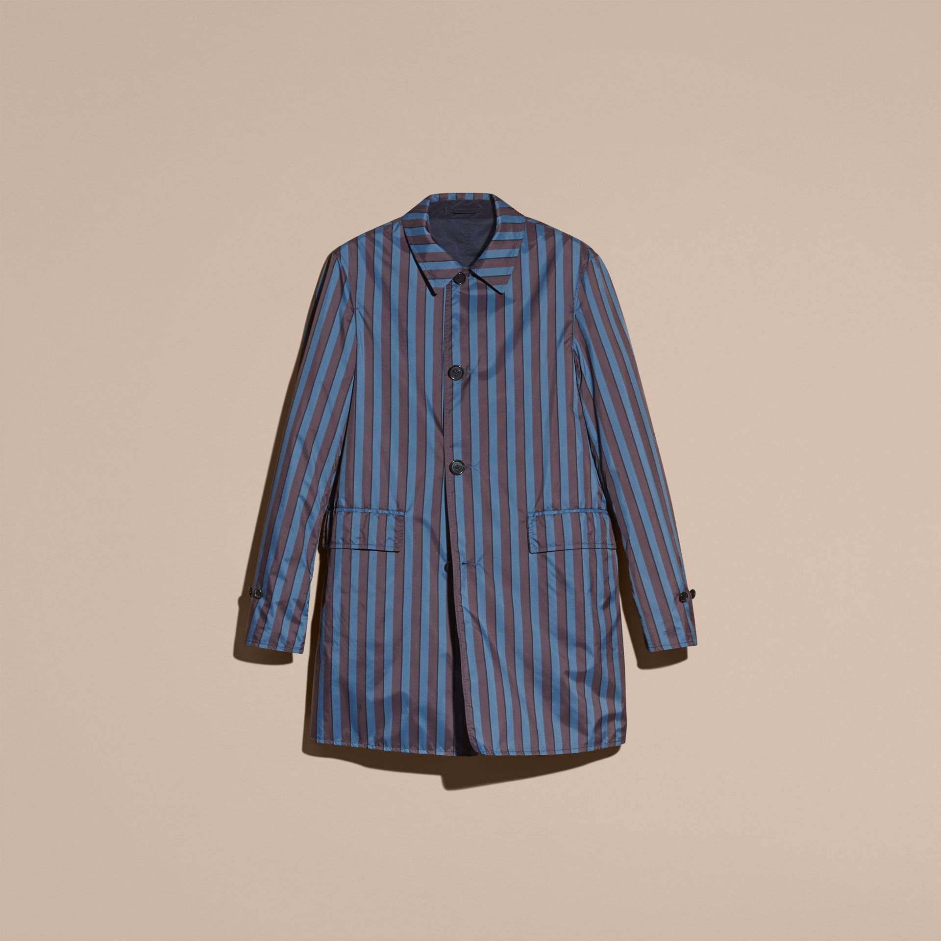 Navy Reversible Pyjama Stripe Print Car Coat - gallery image 4