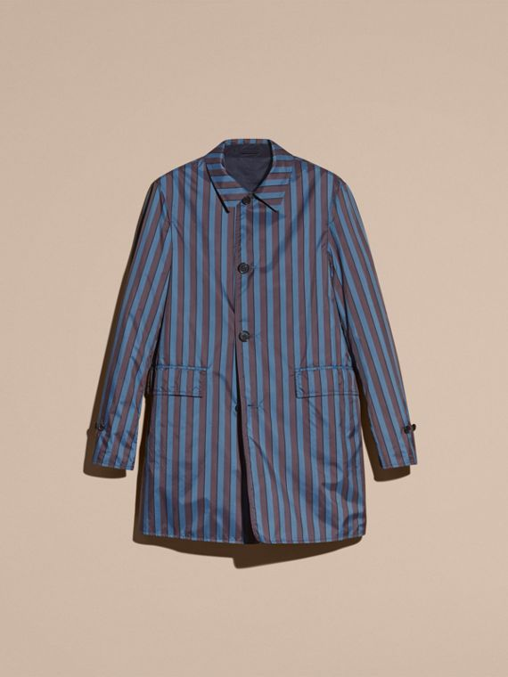 Navy Reversible Pyjama Stripe Print Car Coat - cell image 3