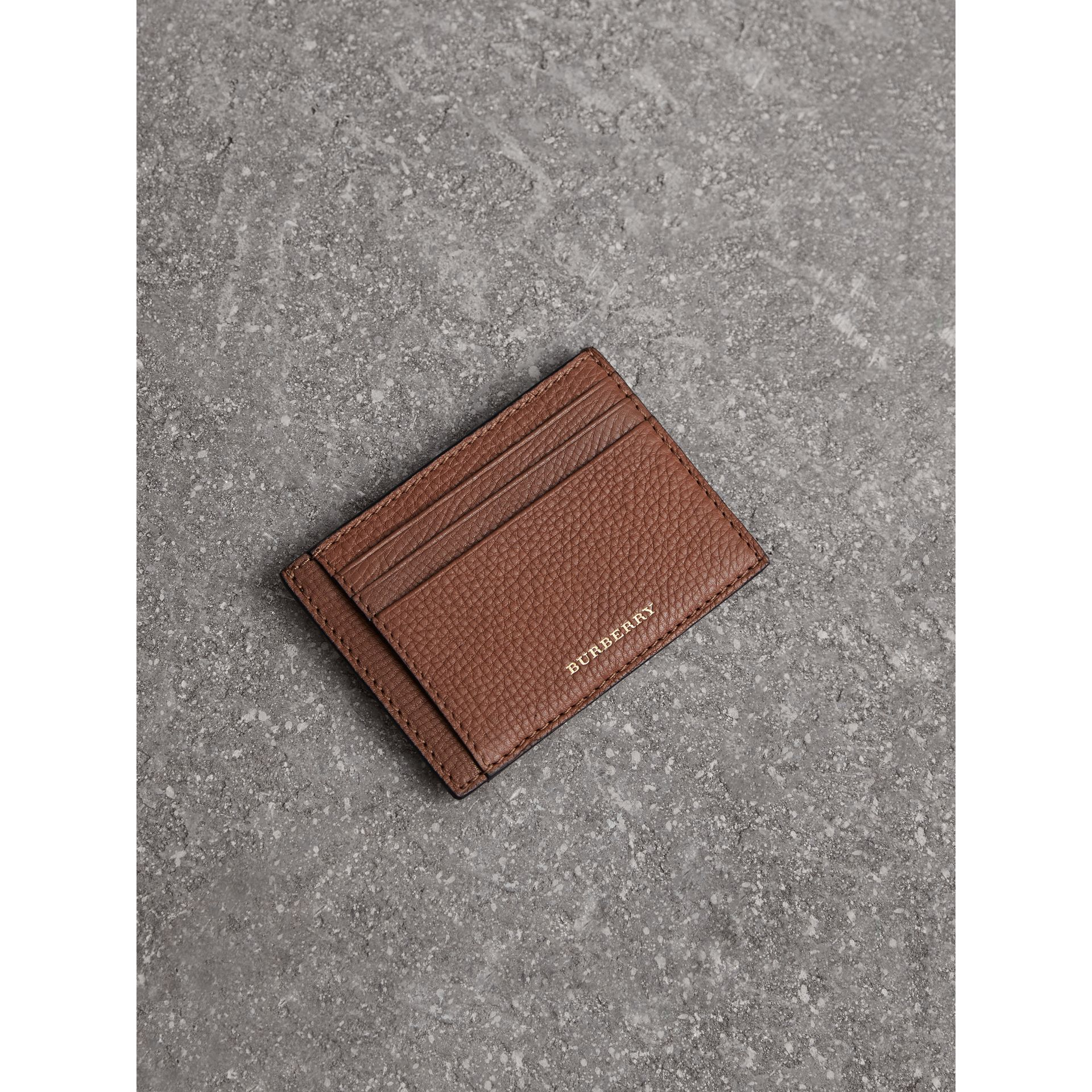 House Check and Leather Money Clip Card Case in Chestnut Brown - Men | Burberry United States - gallery image 0