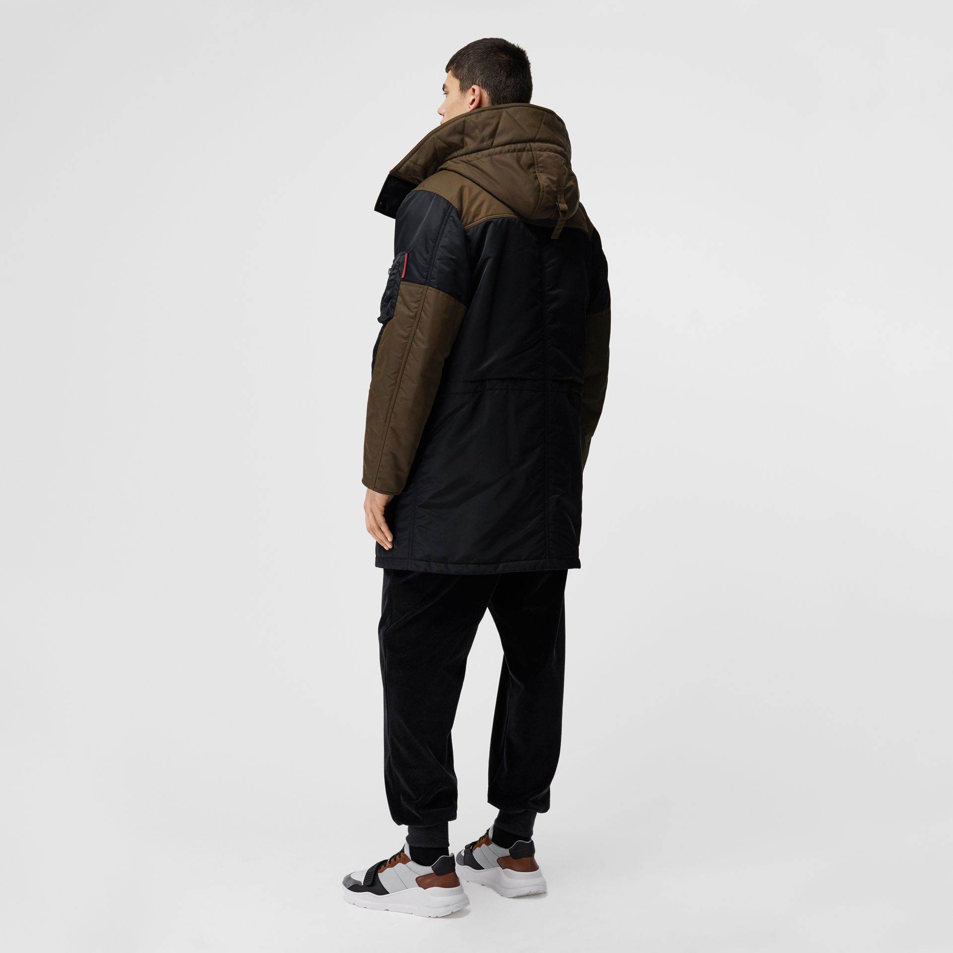 Colour Block Padded Hooded Parka in Black - Men | Burberry - gallery image 2