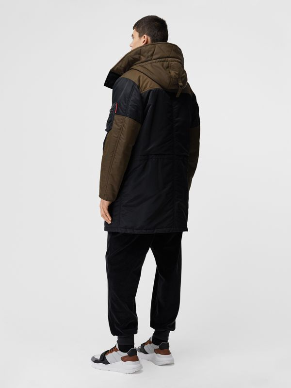 Colour Block Padded Hooded Parka in Black - Men | Burberry - cell image 2