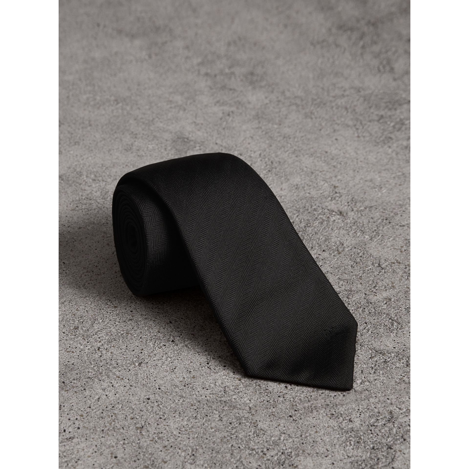 Modern Cut Silk Tie in Black - Men | Burberry Singapore - gallery image 0