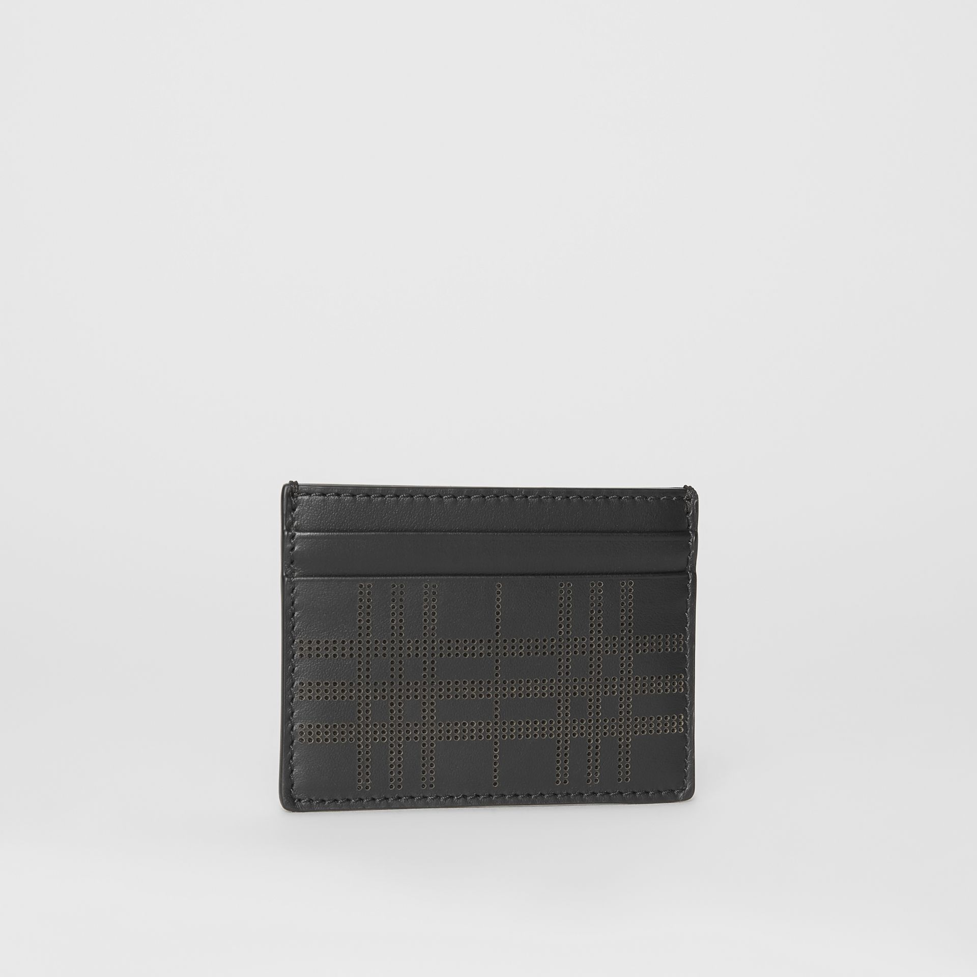 Perforated Check Leather Card Case in Black - Men | Burberry - gallery image 4