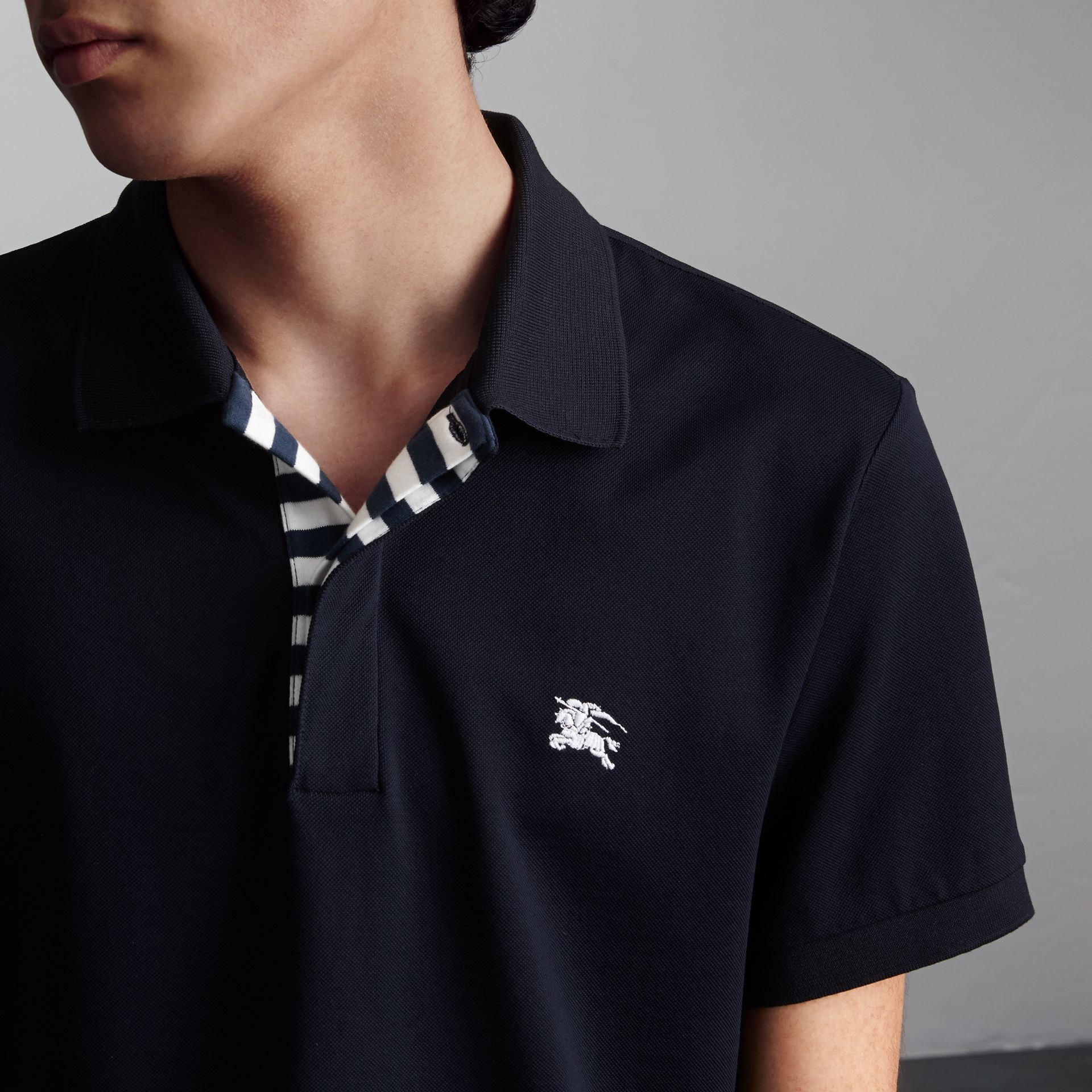 Striped Placket Cotton Piqué Polo Shirt in Navy - Men | Burberry Canada - gallery image 5