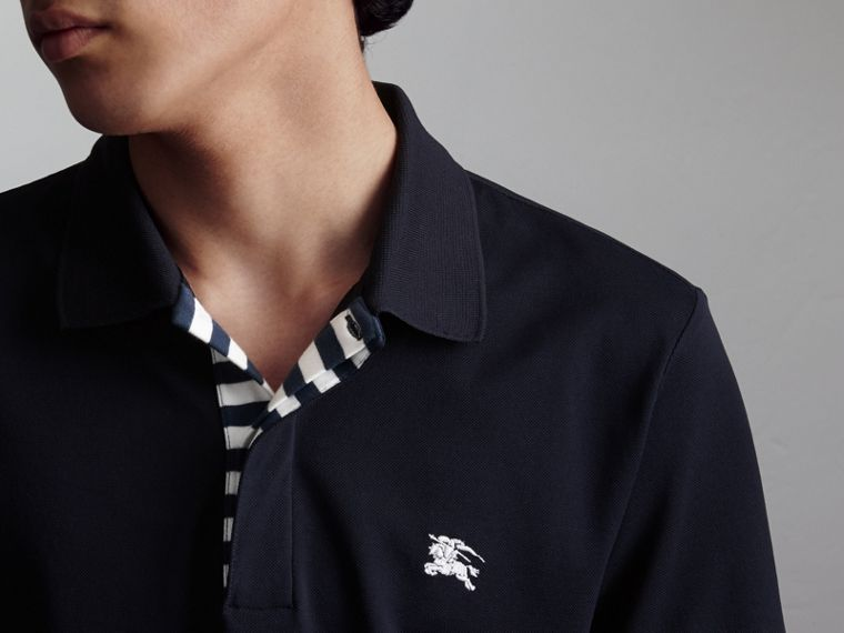 Striped Placket Cotton Piqué Polo Shirt in Navy - Men | Burberry Canada - cell image 4