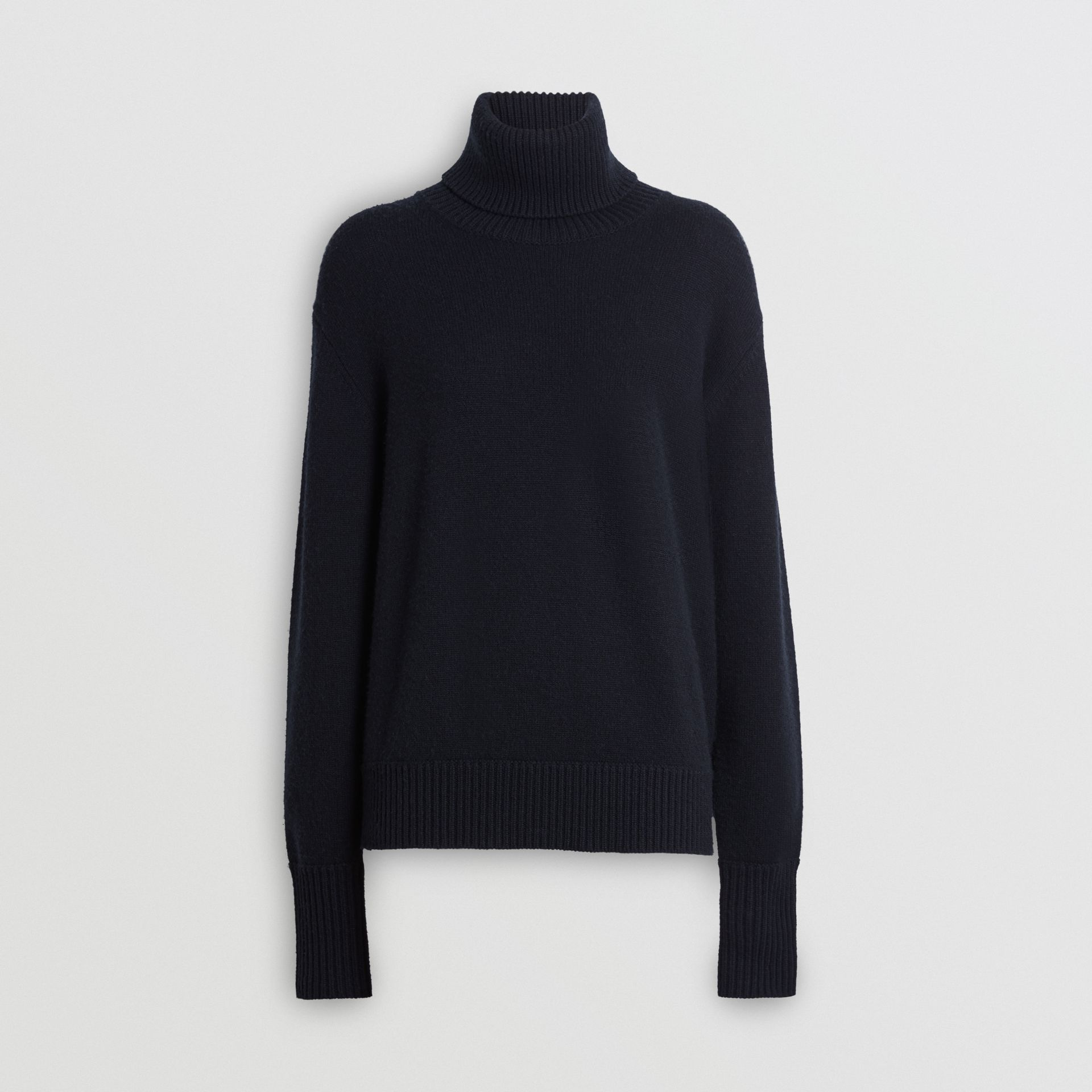 Embroidered Crest Cashmere Roll-neck Sweater in Navy - Women | Burberry United Kingdom - gallery image 3
