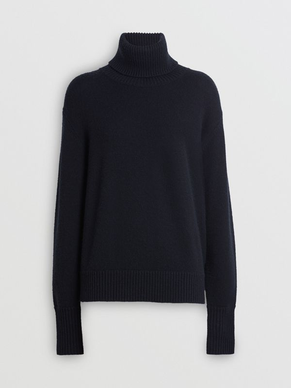 Embroidered Crest Cashmere Roll-neck Sweater in Navy - Women | Burberry Australia - cell image 3