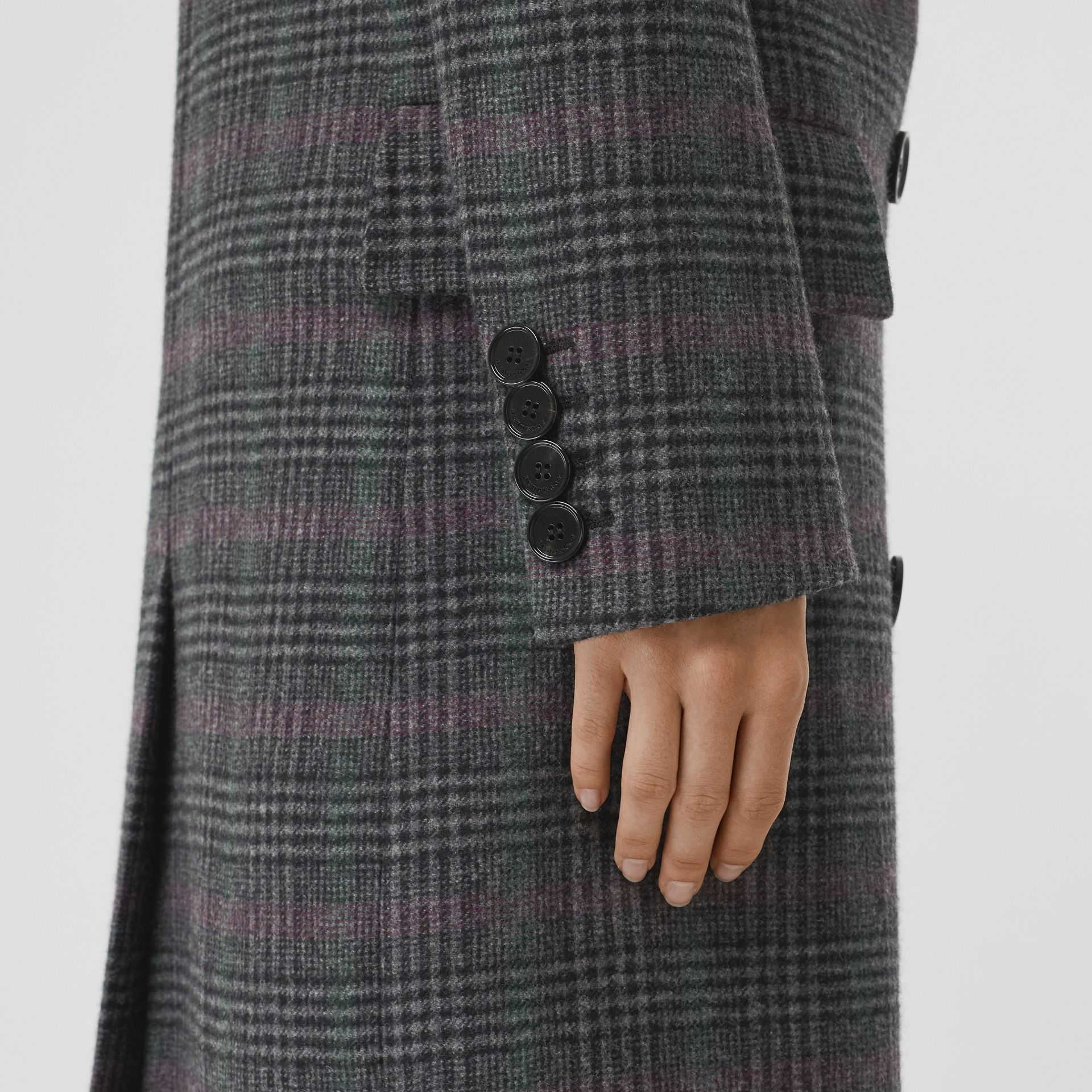 Prince of Wales Check Wool Tailored Coat in Charcoal - Women | Burberry United Kingdom - gallery image 4