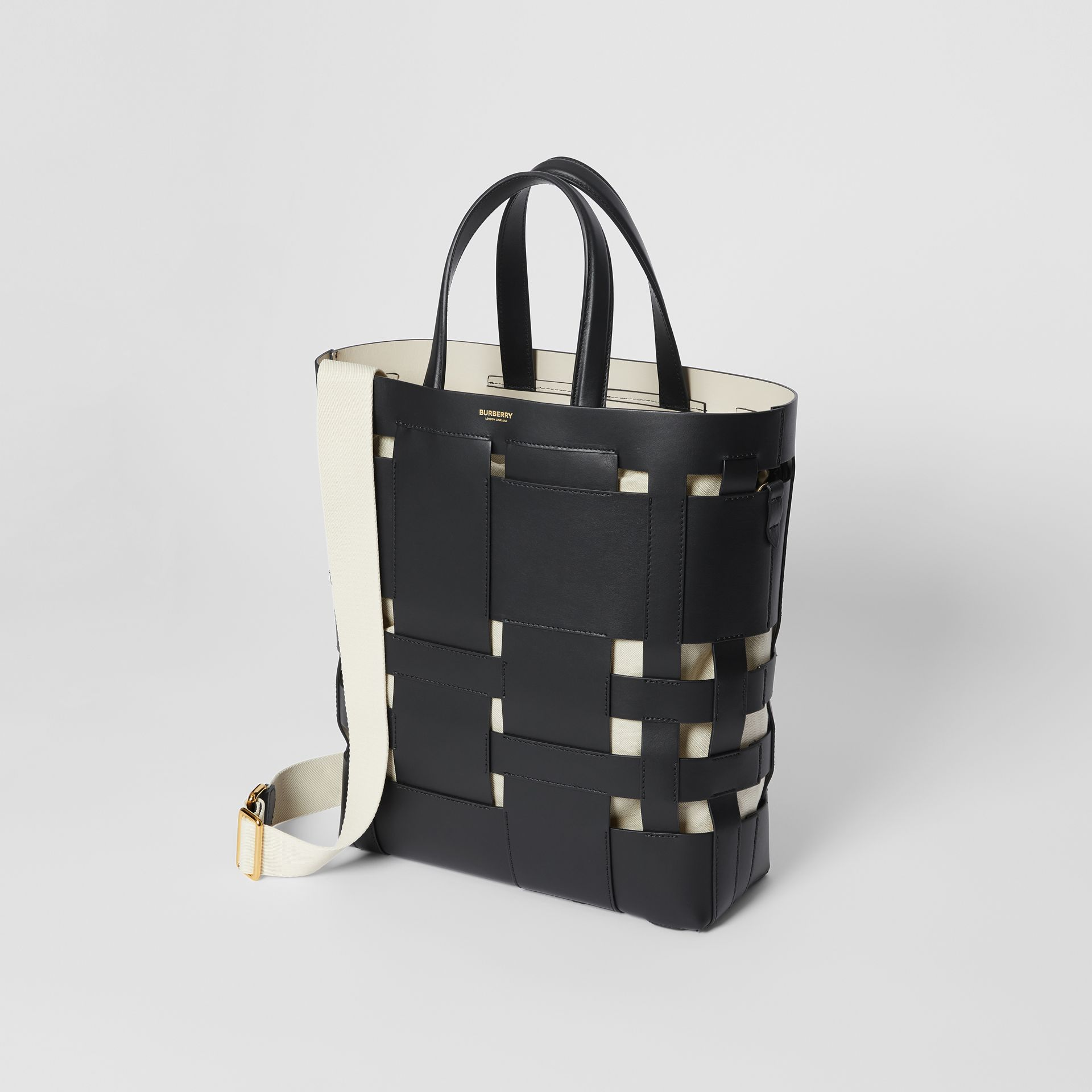 Medium Leather Foster Tote in Black - Women | Burberry - gallery image 3