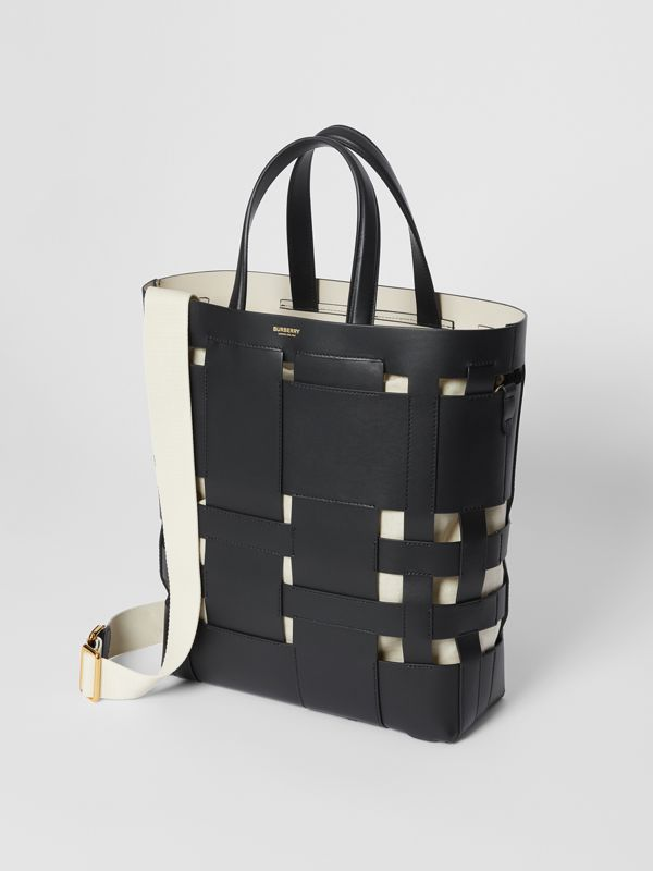 Medium Leather Foster Tote in Black - Women | Burberry - cell image 3