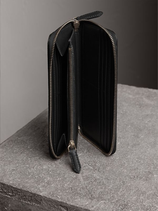 Embossed Grainy Leather Ziparound Wallet in Black - Men | Burberry United Kingdom - cell image 3