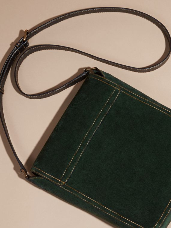 Dark forest green The Medium Satchel in English Suede - cell image 3