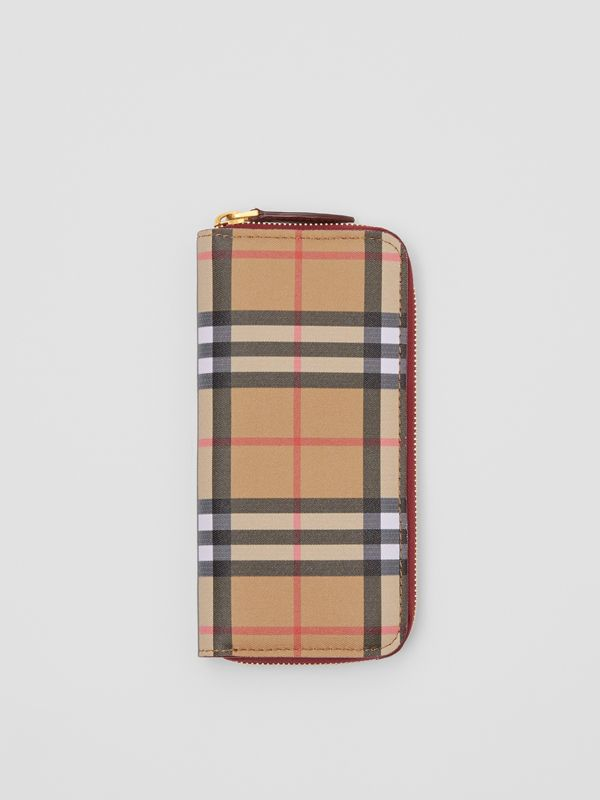 Vintage Check and Leather Ziparound Wallet in Crimson - Women | Burberry Singapore - cell image 2