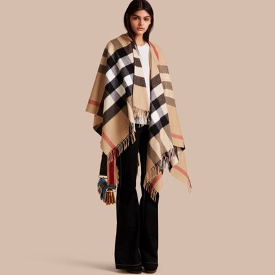 Check Cashmere and Wool Poncho in Camel