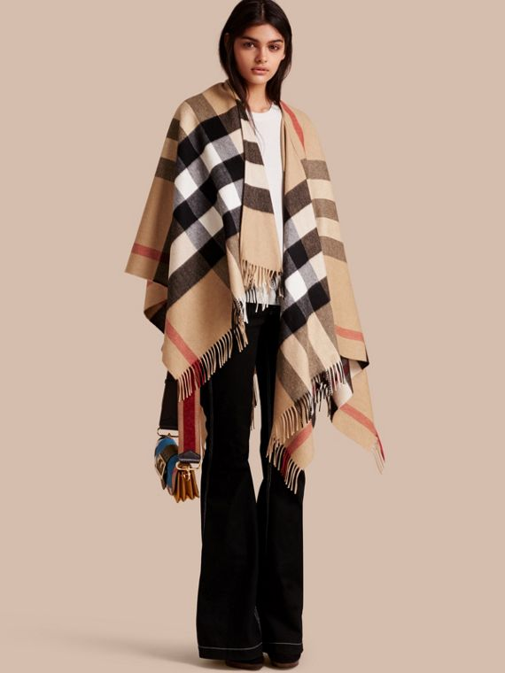 Check Cashmere and Wool Poncho in Camel - Women | Burberry Singapore