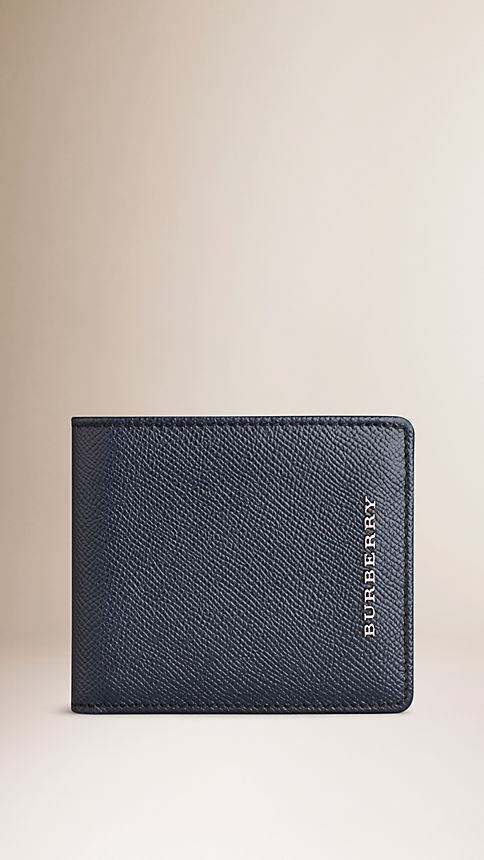 Navy London Leather Folding Wallet - Image 1