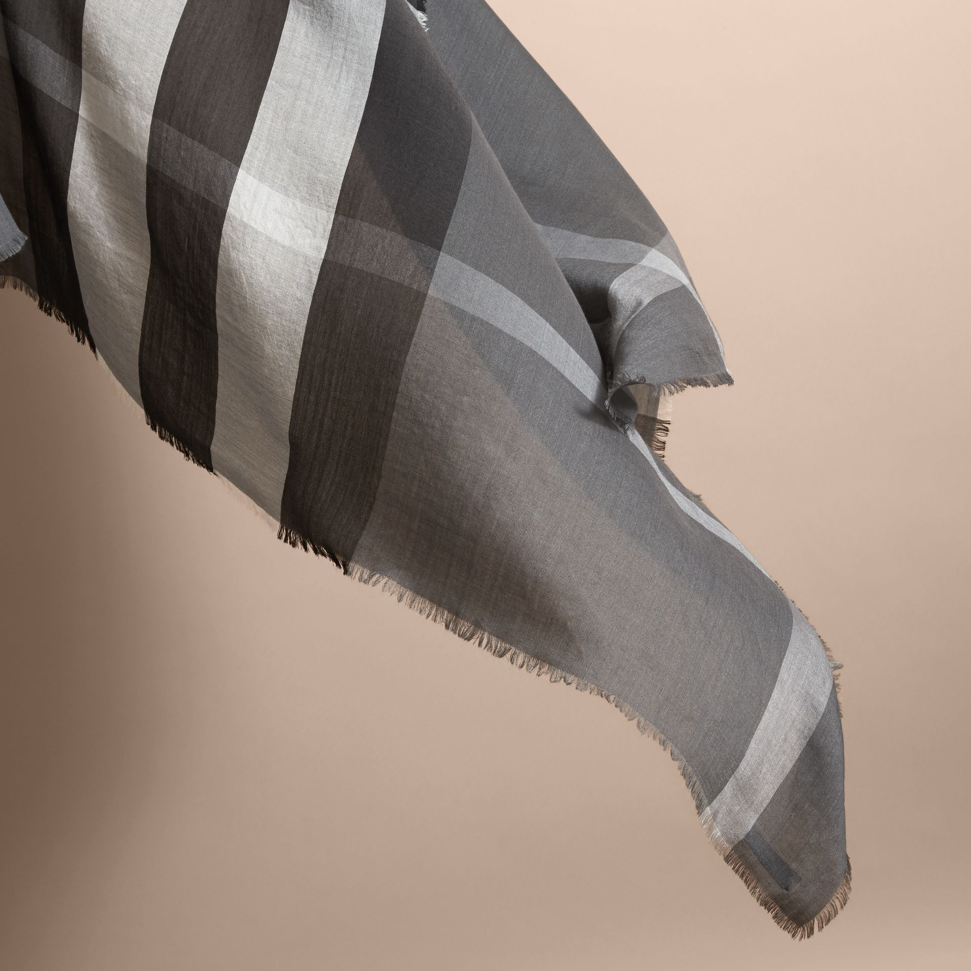 Large Lightweight Check Silk Modal Wool Square Scarf in Mid Grey | Burberry - gallery image 4