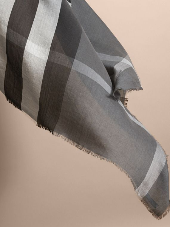 Large Lightweight Check Silk Modal Wool Square Scarf in Mid Grey | Burberry - cell image 3