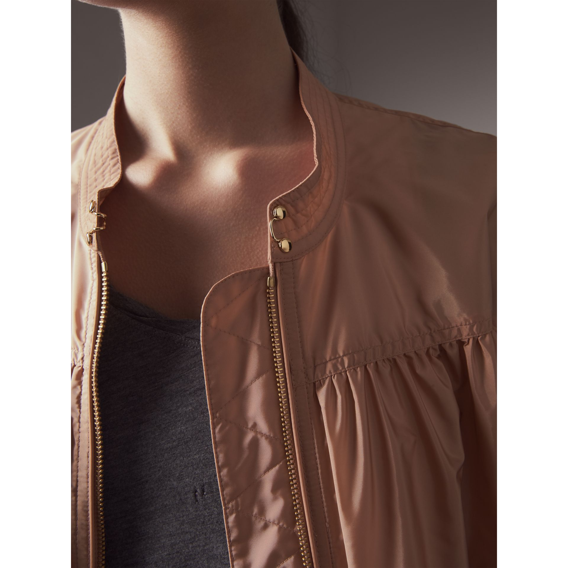 Ruched Showerproof Jacket in Ivory Pink - Women | Burberry - gallery image 2