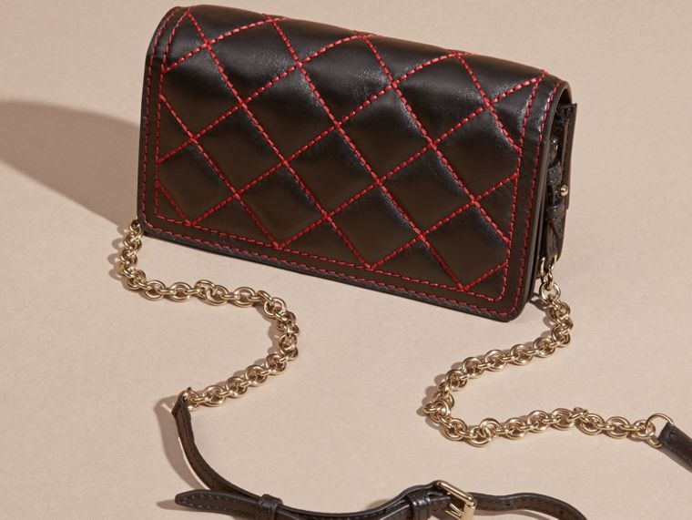Black/ parade red Quilted Leather Clutch Bag with Chain - cell image 4