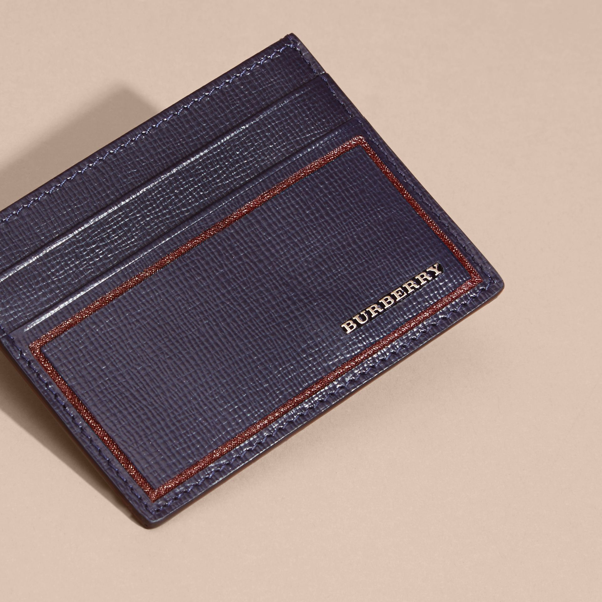Border Detail London Leather Card Case in Dark Navy - gallery image 5