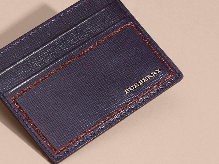 Border Detail London Leather Card Case Dark Navy - cell image 4