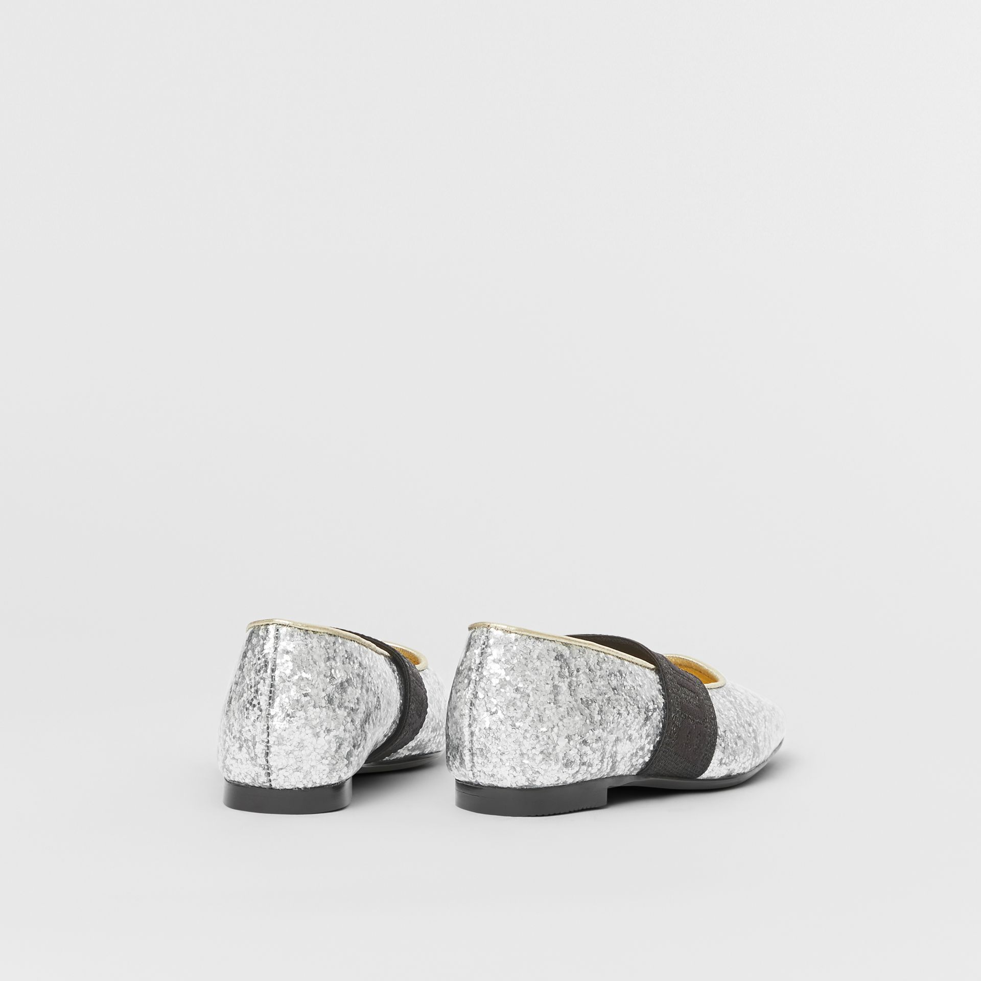 Logo Detail Glittery Flats in Silver - Children | Burberry United Kingdom - gallery image 2
