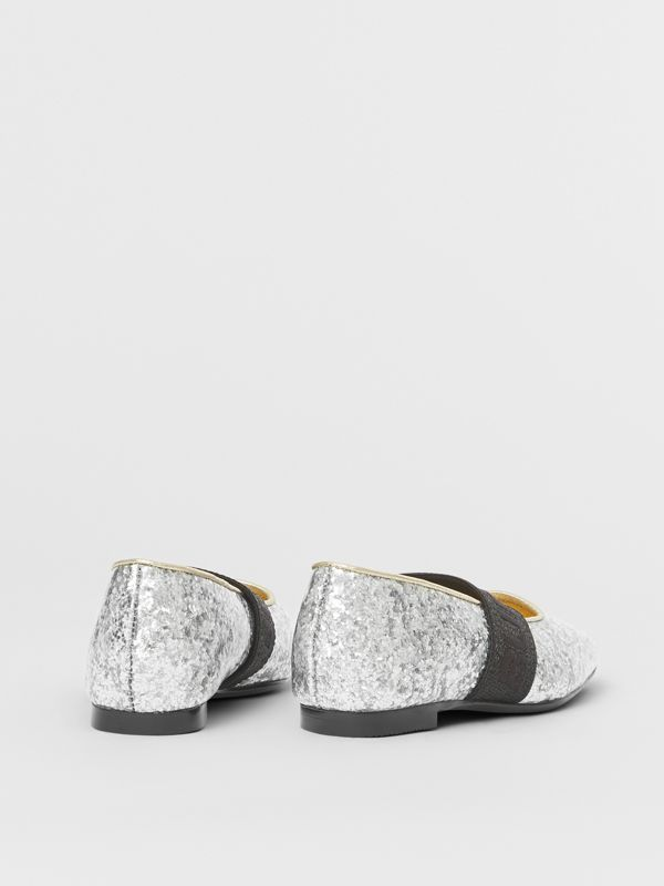 Logo Detail Glittery Flats in Silver - Children | Burberry - cell image 2
